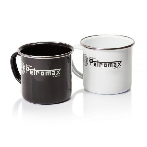 Petromax Emaille Becher schwarz und weiß